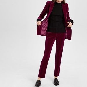 Theory | Velvet Cropped Straight Leg Tux Pants